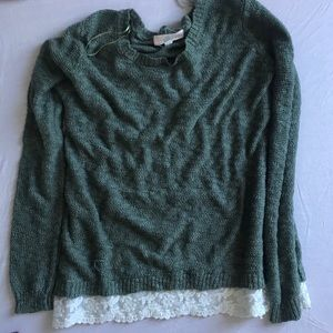 green sweater with lace trim